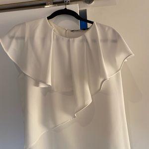 Zara Basic White Ruffle Blouse